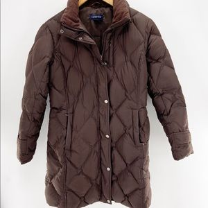 Lands' End Puffer Jacket Brown Small